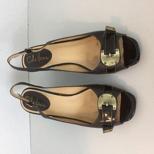 COLE HAAN Nike Air 9 B Brown Slingback Heels A2